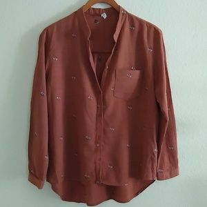Floral Embroidered Rust Blouse